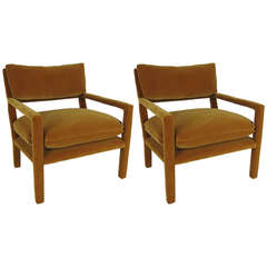 Pair of Fully Upholstered Open-Arm Lounge Chairs by Milo Baughman