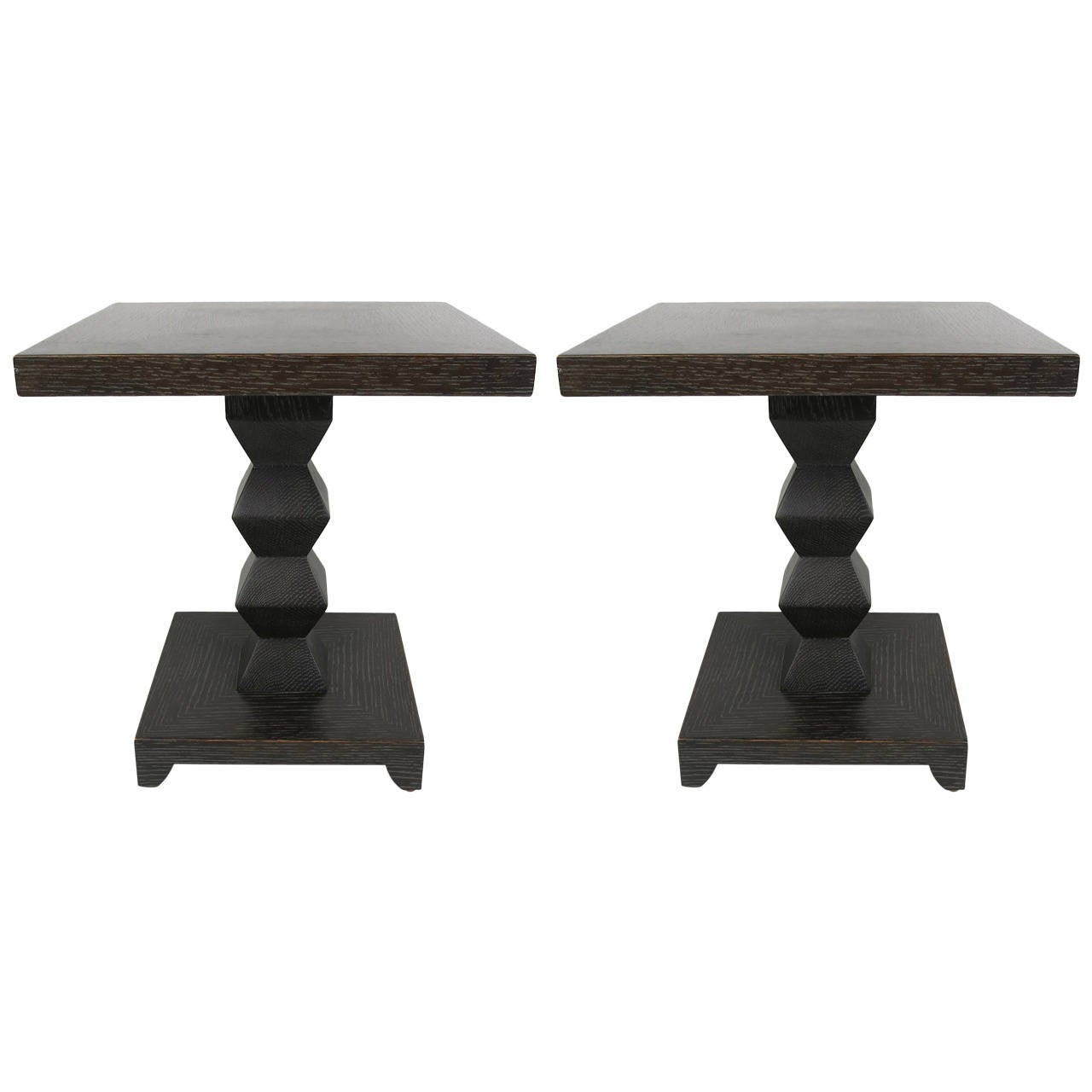 Pair Of Cerused Oak Jean Michel Frank Side Tables By Donghia At  # Table Bois Ceruse