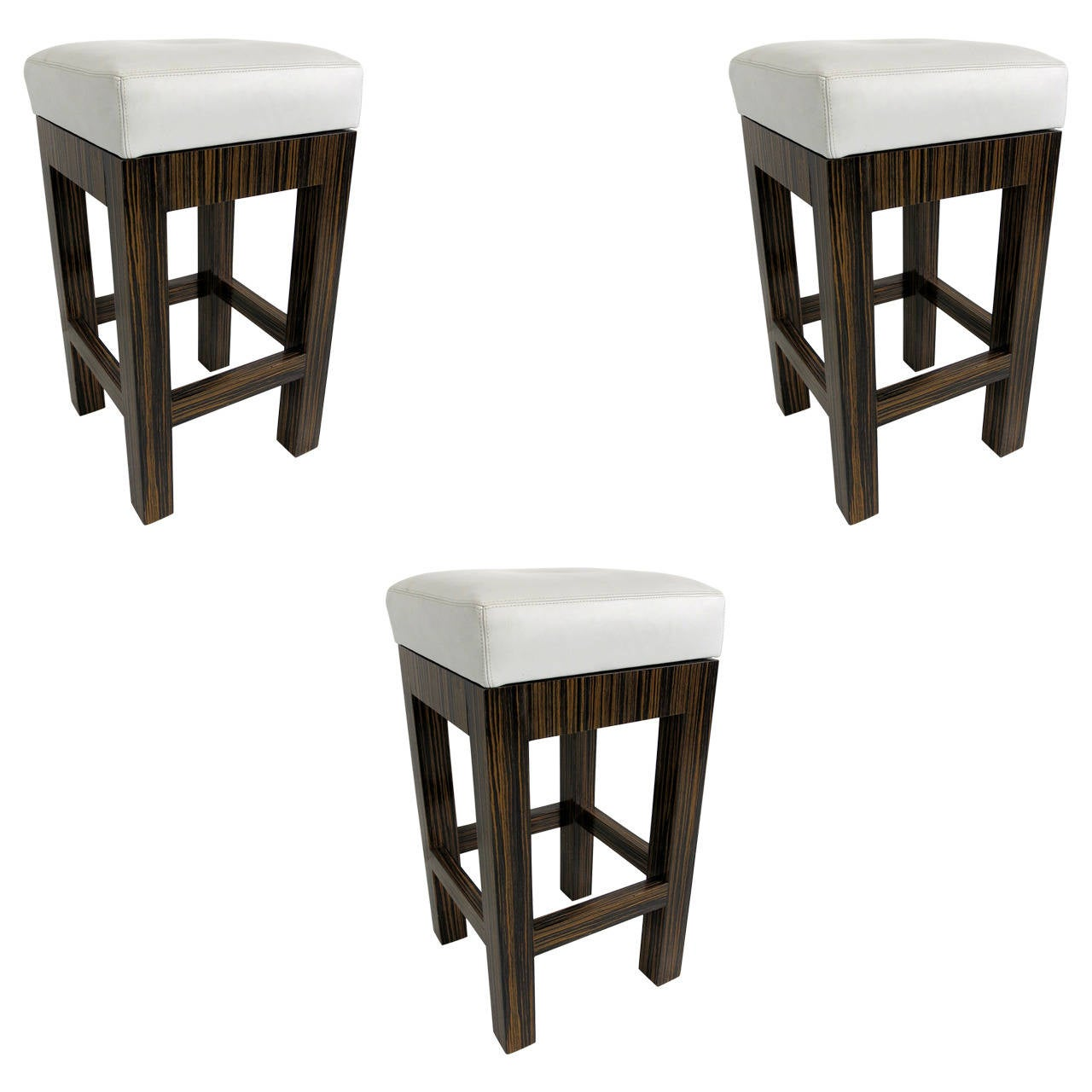 Set Of Three Macassar Ebony Swiveling Bar Stools With