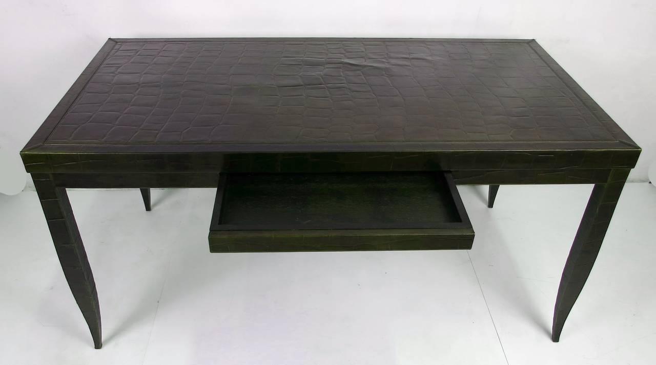 Modern Crocodile Leather Clad Writing Table by Élitis-France For Sale