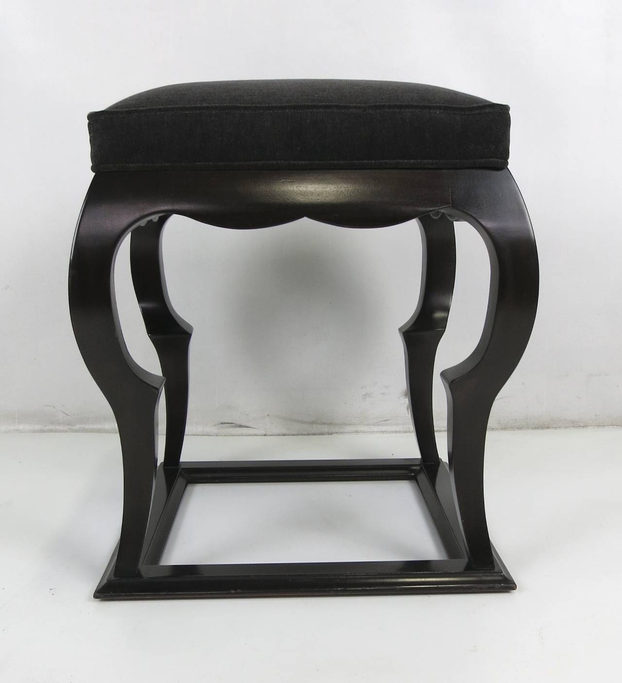 Mid-Century Modern Moorish Modern Stool with Upholstered Seat For Sale