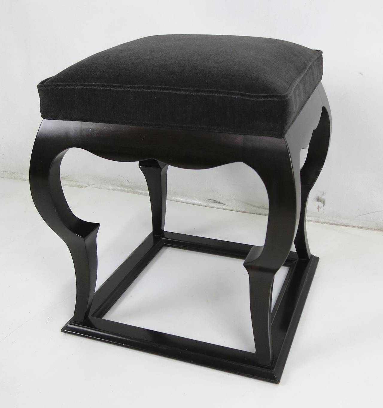 Freshly restored Moorish stool with charcoal grey mohair seat.