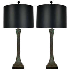 Pair of Sculpted Bronze Table Lamps in the style of Hansen