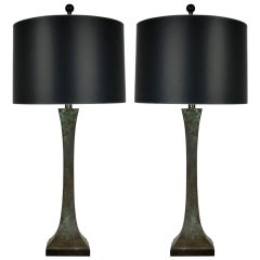 Pair of Sculpted Bronze Table Lamps