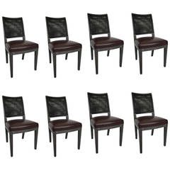 Set of Eight Cerused Oak Calipso Dining Chairs by B&B Italia