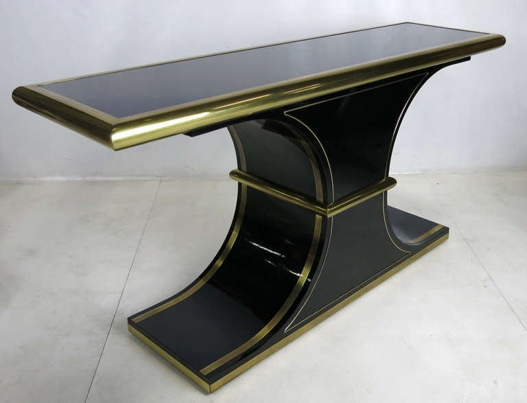 Modern Lacquer and Brass Console by Mastercraft For Sale