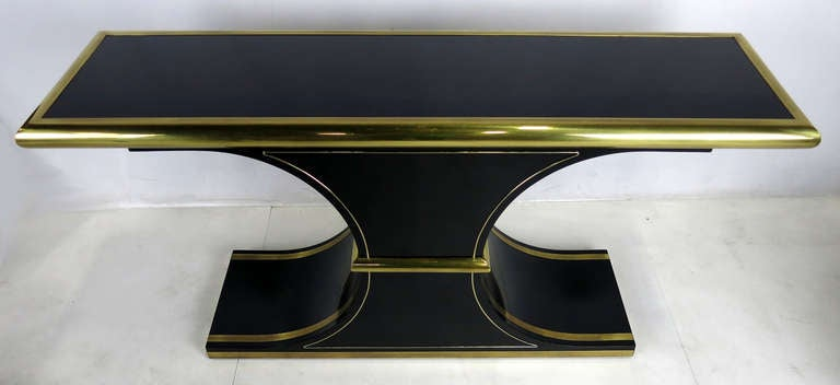 American Lacquer and Brass Console by Mastercraft For Sale