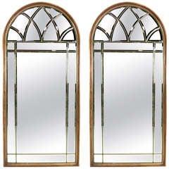 Monumental Pair of Italian Arch Top Mirrors