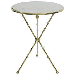 Italian Brass Tripod Gueridon with Carrara Marble top