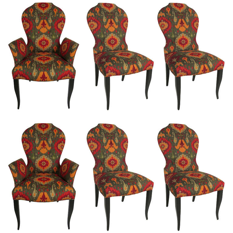 Set of six queen anne modern style dining chairs for sale for Modern queen anne furniture