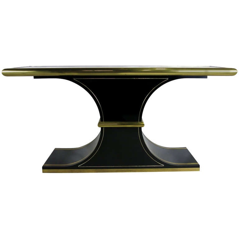 Lacquer and Brass Console by Mastercraft For Sale