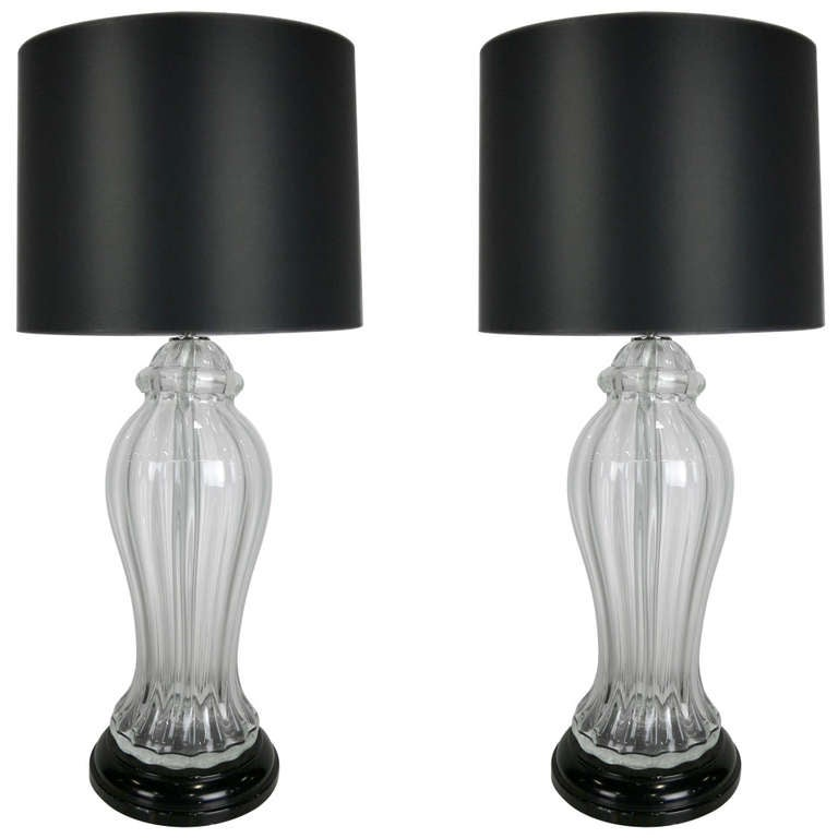 Pair Of Clear Murano Glass Urn Form Table Lamps At 1stdibs