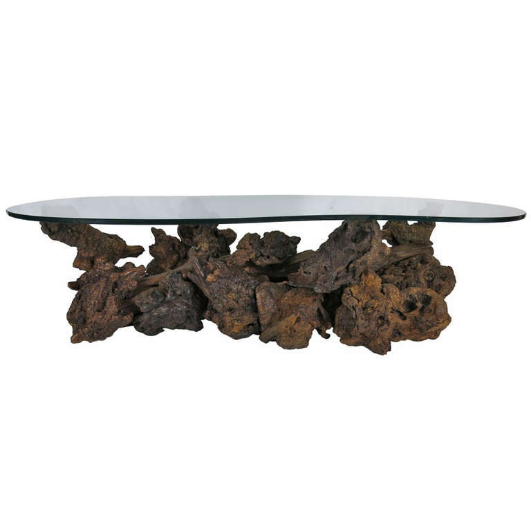 Driftwood Base Coffee Table With Freeform Glass Top For Sale