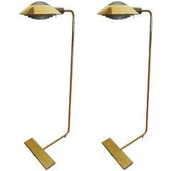 Pair of Swiveling Brass Pharmacy Lamps by Cedric Hartman
