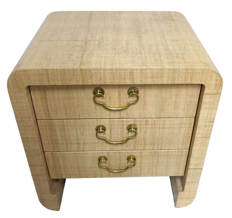 20th Century Pair of Raffia Clad Bedside Chests by Harrison-Van Horn For Sale