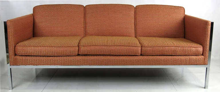 Sleek pair of Chrome Framed Sofas by Milo Baughman for Thayer Coggin.  Freshly upholstered.  Please call or use the