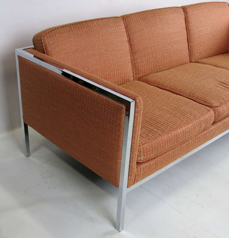 American Pair of Chrome Framed Sofas by Milo Baughman For Sale