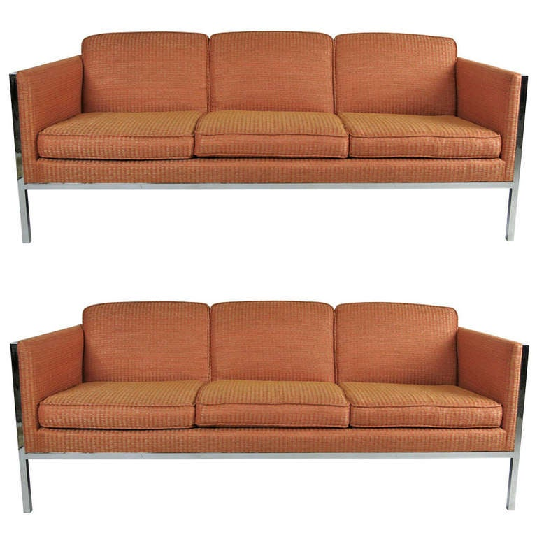 Pair of Chrome Framed Sofas by Milo Baughman For Sale