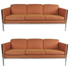 Pair of Chrome Framed Sofas by Milo Baughman