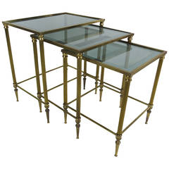 Set of Italian Brass Nesting Tables with Mirror Bordered Tops