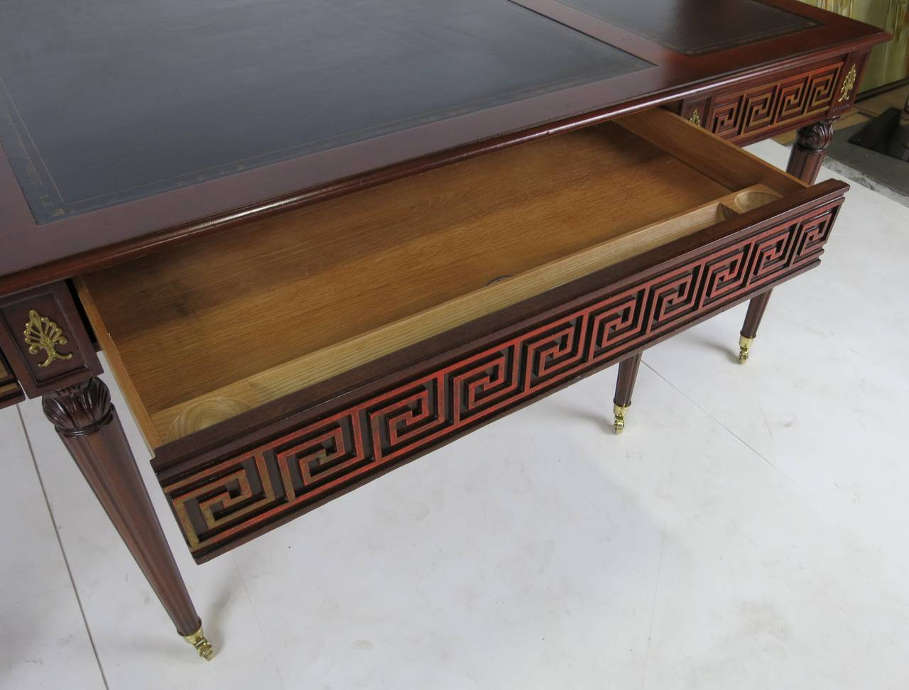 Leather Regency Style Partners Desk by Mario Buatta For Sale