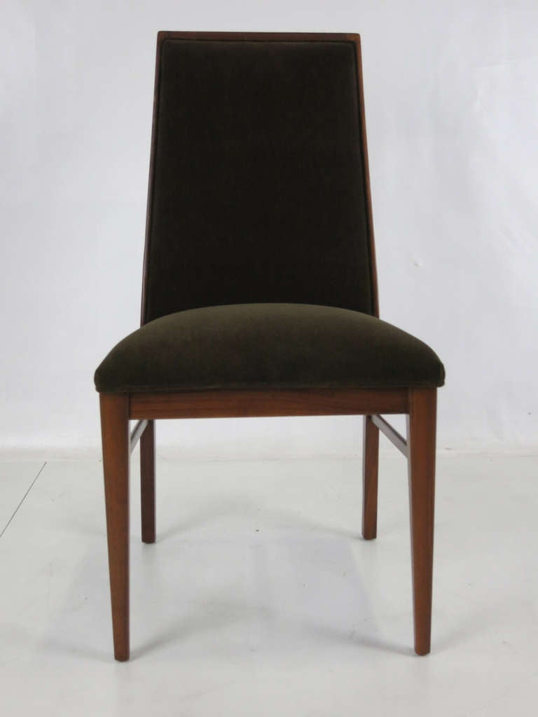 Modern Set of Six Walnut Dining Chairs by Kipp Stewart