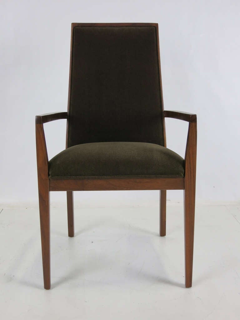 Upholstery Set of Six Walnut Dining Chairs by Kipp Stewart