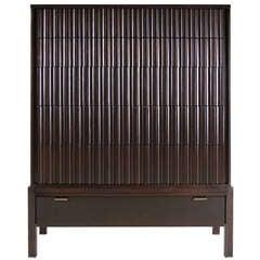 Tall Pleated Front Walnut Dresser