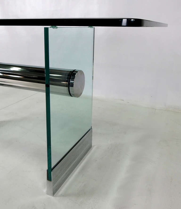 Chrome and Glass Writing Desk by Pace For Sale at 1stdibs