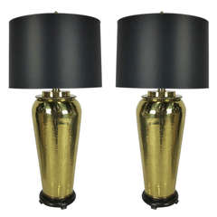 Pair of Hammered Brass Urn Form Lamps by Paul Hanson