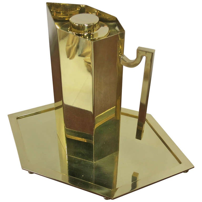 Brass Pitcher and Tray by Charles Hollis Jones