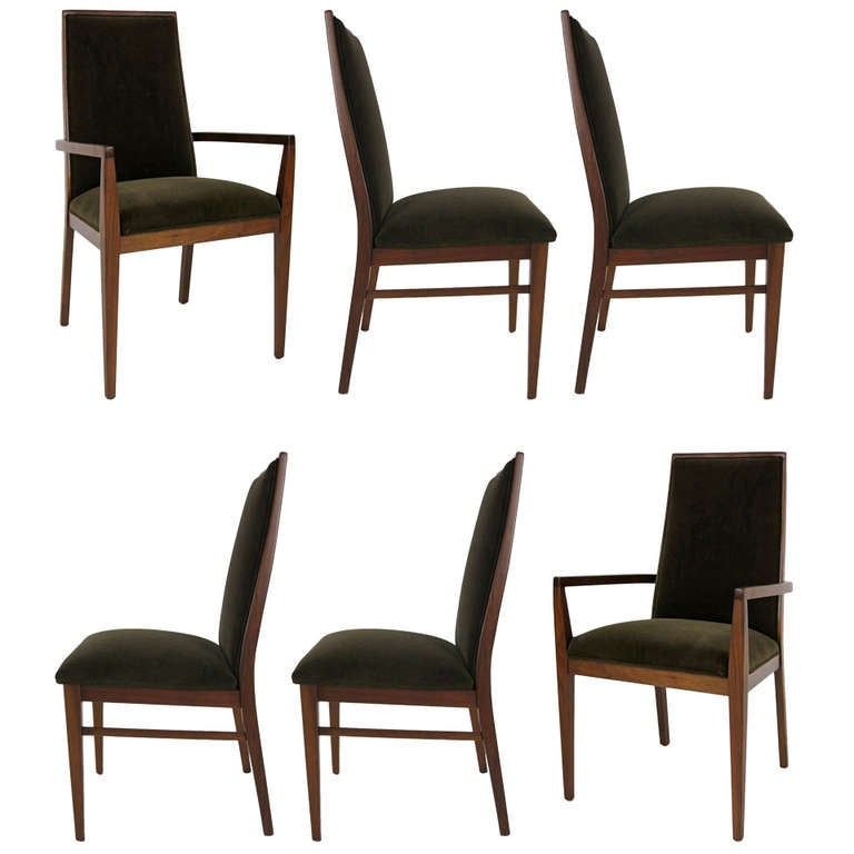 Set Of Six Kipp Stewart For Drexel Walnut Declaration Dining Chairs At 1stdibs
