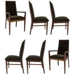 Set of Six Walnut Dining Chairs by Kipp Stewart