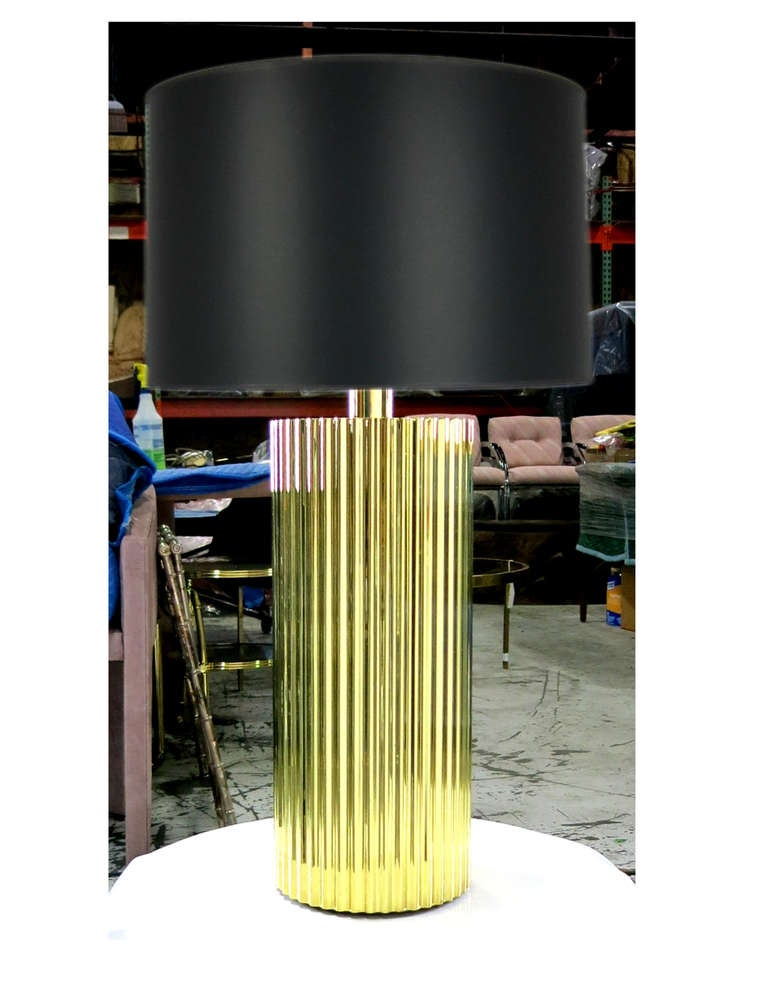Polished Br Corduroy Table Lamp By Harry Lawenda For Boyd Lighting