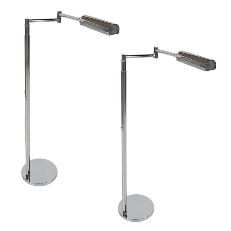 Pair of Chrome Extension Pharmacy Lamp by Koch & Lowy