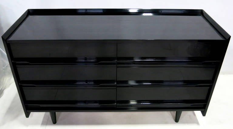 French Polished Black Lacquer Dresser Attributed To Edmond Spence In Excellent Condition For
