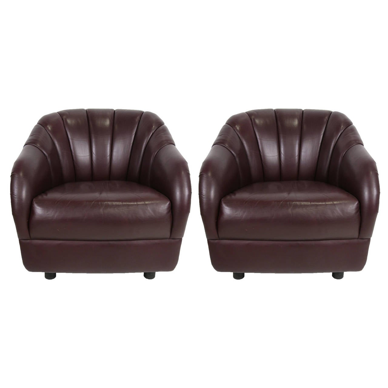 Pair of Oxblood Leather Club Chairs by Ward Bennett for Brickel For Sale