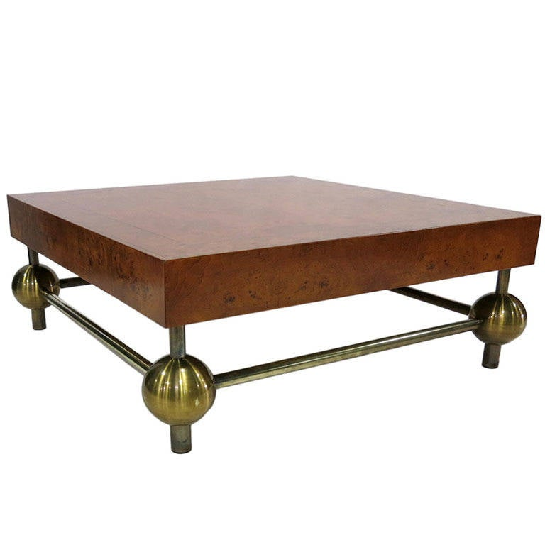 Burl Top Coffee Table with Brass Base