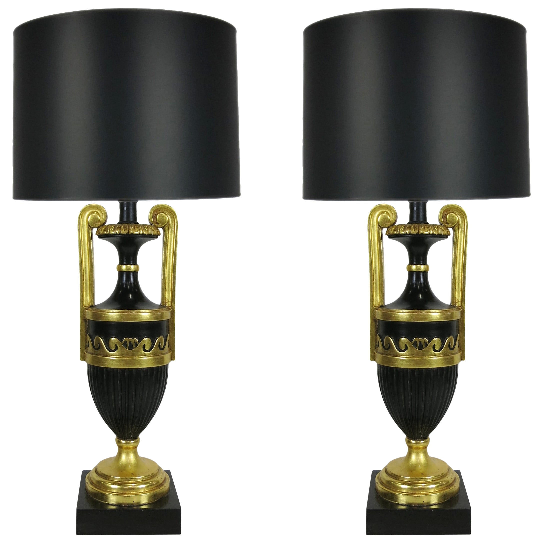 Pair of Neoclassical Ebony and Giltwood Table Lamps by Marbro