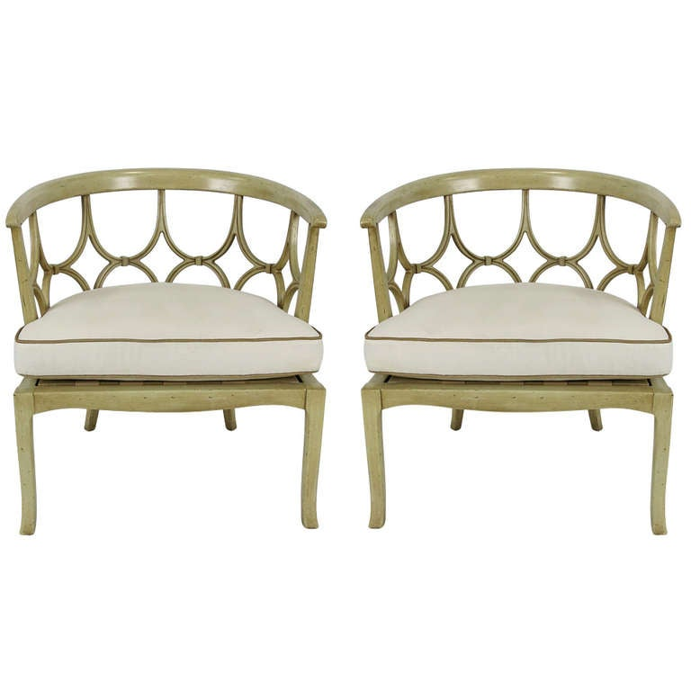 Pair of Hollywood Regency Barrel Chairs For Sale at 1stdibs