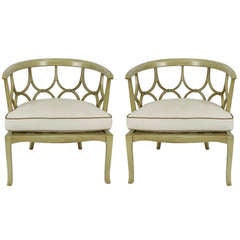 Pair of Hollywood Regency Barrel Chairs
