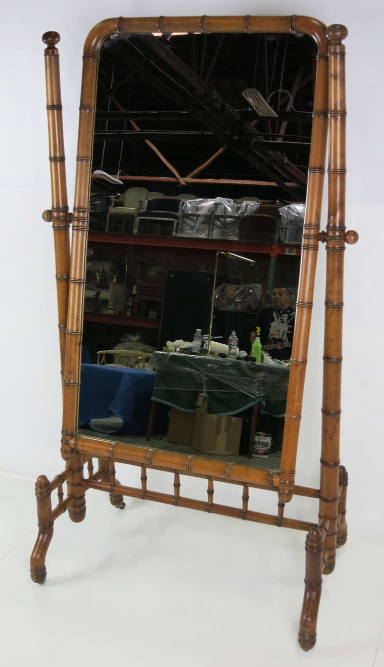 Beautiful Victorian Period Cheval Mirror with faux bamboo carving.