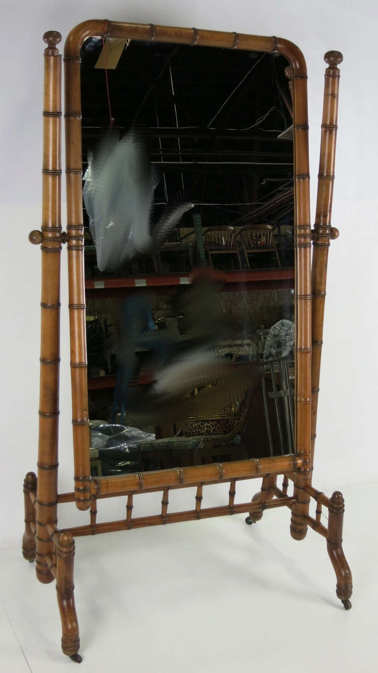 Victorian Cheval Mirror In Good Condition For Sale In San Leandro, CA