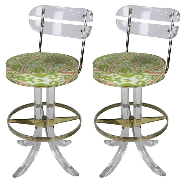 Pair Of Lucite And Brass Counter Stools By Hill Mfg At