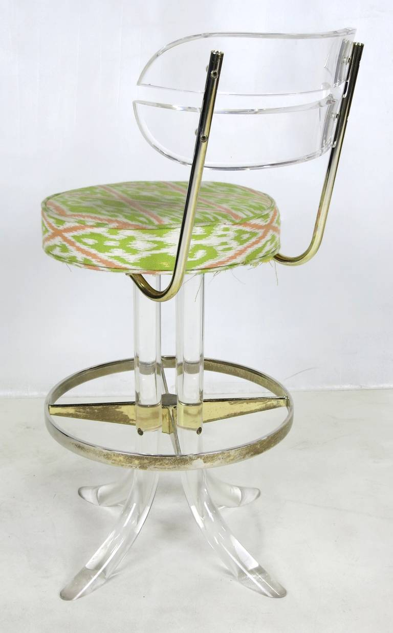 Pair of Lucite and Brass Counter Stools by Hill Mfg.. For Sale at ...