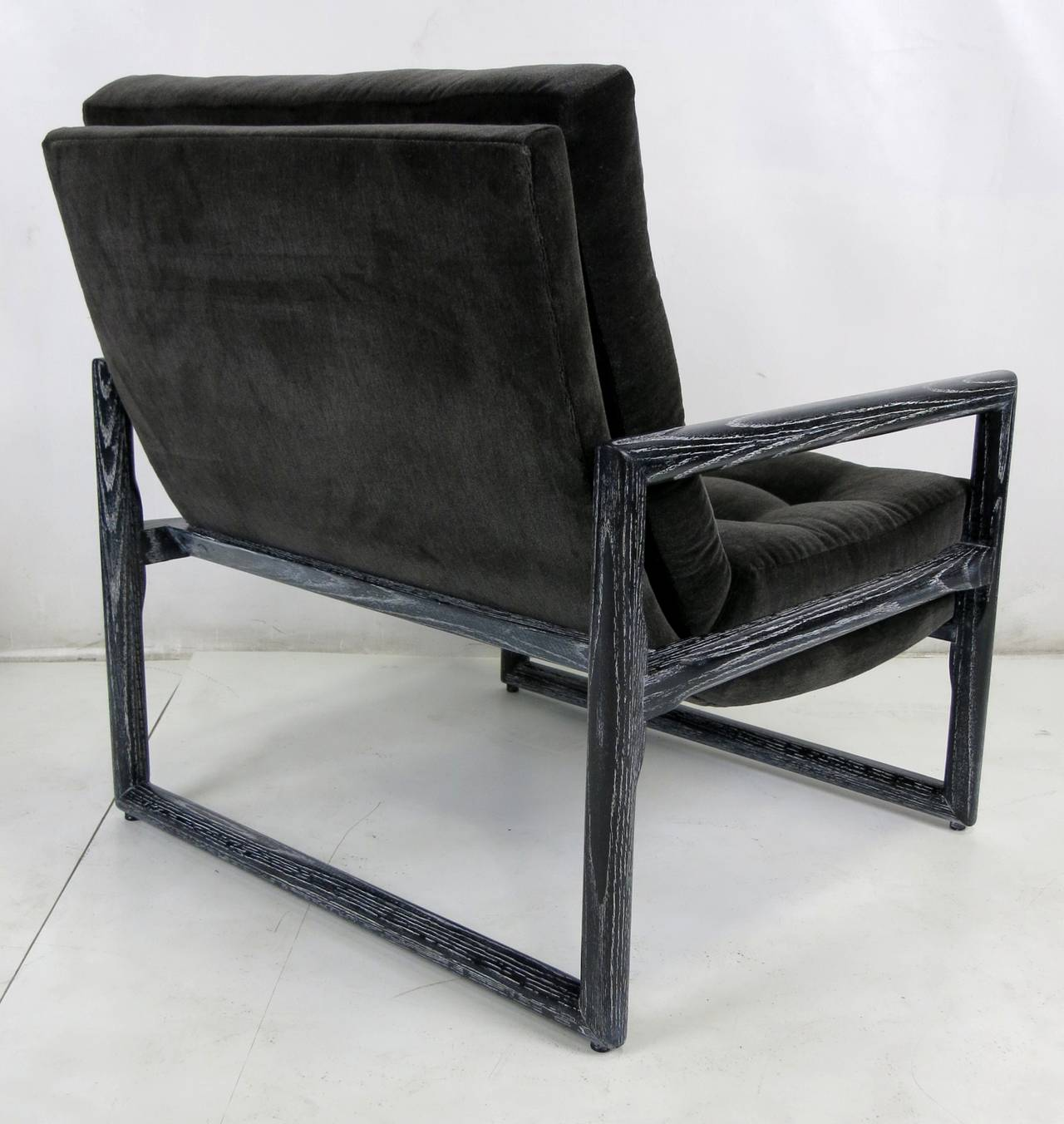 American Pair of Ebonized Cerused Oak Scoop Chairs  For Sale