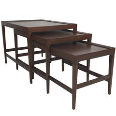 Set of Three Modernist Walnut Nesting Tables