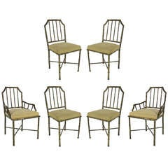 Set of Six Brass Dining Chairs by Mastercraft
