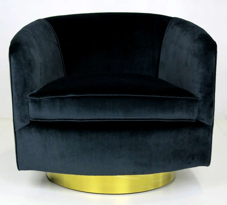 Pair Of Navy Blue Velvet Swivel Chairs By Milo Baughman At