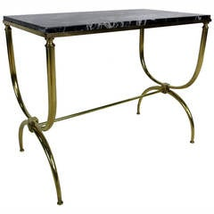 Neoclassical Italian Curule form Table with Marble Top
